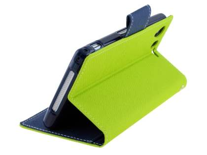 Mercury Colour Fancy Diary Case with Stand for Sony Xperia Z1 - Lime/Navy