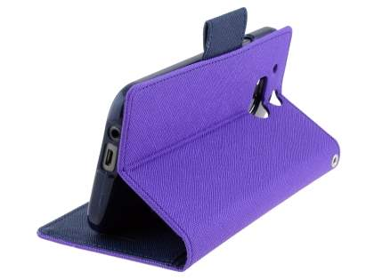 Mercury Goospery Colour Fancy Diary Case with Stand for HTC One M8 - Purple/Navy