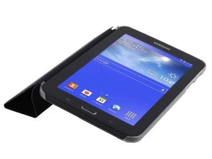 Book-Style Case with Stand for Samsung Galaxy Tab 3 Lite 7.0 - Black/Frosted Clear