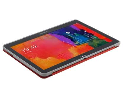 Book-Style Case with Stand for Samsung Galaxy Tab Pro 10.1 - Red/Frosted Clear