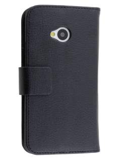 HTC One M7 Slim Synthetic Leather Wallet Case with Stand - Classic Black Leather Wallet Case