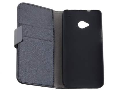 HTC One M7 Slim Synthetic Leather Wallet Case with Stand - Classic Black