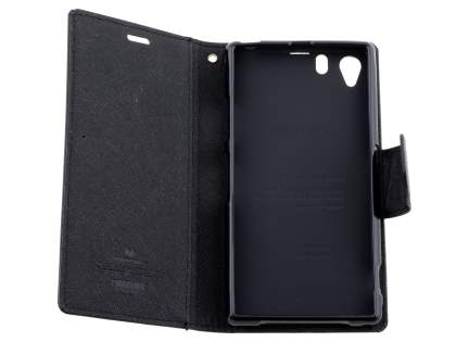 Mercury Colour Fancy Diary Case with Stand for Sony Xperia Z1 - Classic Black