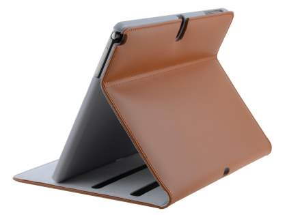 Premium Genuine Leather Slim Portfolio Case with Stand for Samsung Galaxy Note 10.1 (2014 Edition) - Brown Leather Flip Case