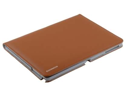 Premium Genuine Leather Portfolio Case with Stand for Samsung Galaxy Note 10.1 (2014 Edition) - Brown