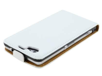 Sony Xperia Z1 Compact Slim Genuine Leather Flip Case - Pearl White
