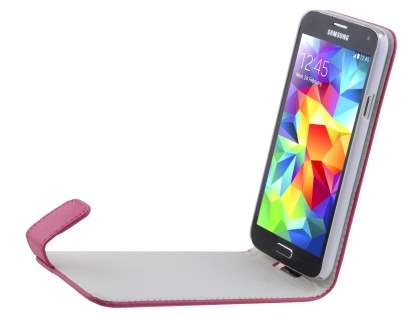 Samsung Galaxy S5 Synthetic Leather Flip Case - Pink