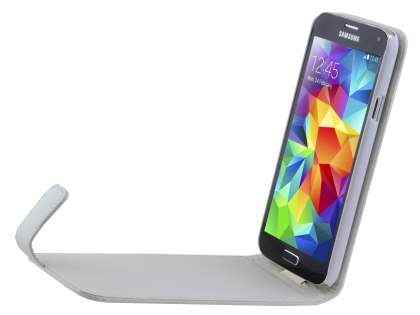 Synthetic Leather Flip Case for Samsung Galaxy S5 - Pearl White
