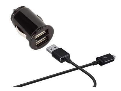 Car Charger with dual USB ports & Micro USB Data Cable - Black