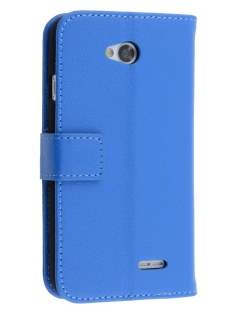 LG L70 D320N Synthetic Leather Wallet Case with Stand - Blue