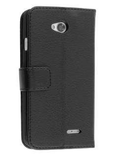LG L70 D320N Synthetic Leather Wallet Case with Stand - Black Leather Wallet Case