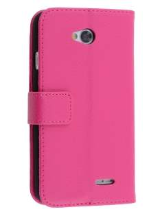 LG L70 D320N Synthetic Leather Wallet Case with Stand - Pink Leather Wallet Case