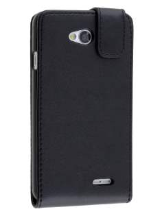 Synthetic Leather Flip Case for LG L70 D320N - Classic Black Leather Flip Case