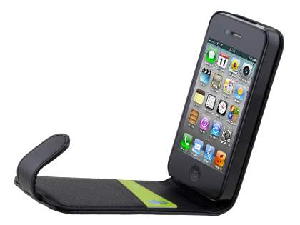 iPhone 4/4S Synthetic Leather Flip Case - Classic Black