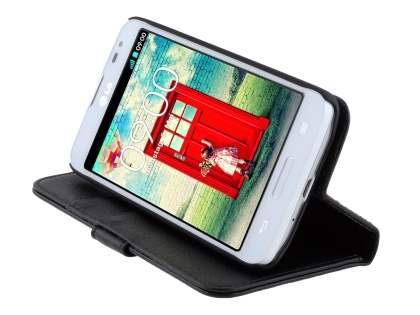 Synthetic Leather Wallet Case with Stand for LG L70 D320N - Black
