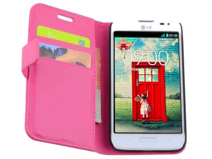 Synthetic Leather Wallet Case with Stand for LG L70 D320N - Pink