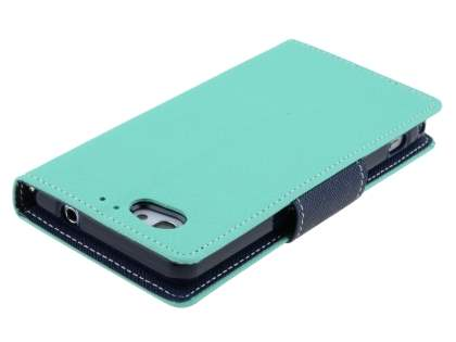 Mercury Colour Fancy Diary Case with Stand for Sony Xperia Z1 Compact - Mint/Navy
