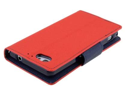 Mercury Colour Fancy Diary Case with Stand for Sony Xperia Z1 Compact - Red/Navy