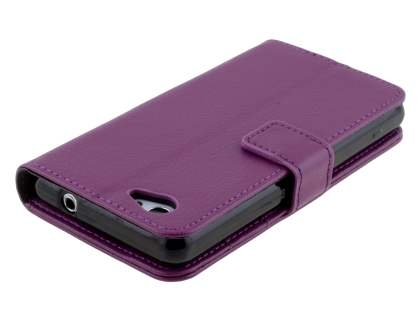 Sony Xperia Z1 Compact Slim Synthetic Leather Wallet Case with Stand - Purple
