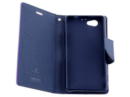 Mercury Colour Fancy Diary Case with Stand for Sony Xperia Z1 Compact - Purple/Navy