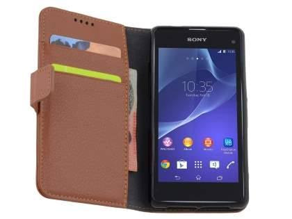 Sony Xperia Z1 Compact Slim Synthetic Leather Wallet Case with Stand - Brown