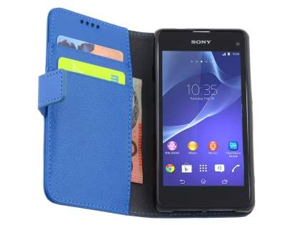 Sony Xperia Z1 Compact Slim Synthetic Leather Wallet Case with Stand - Blue