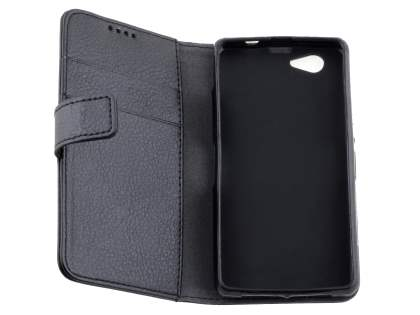 Synthetic Leather Wallet Case with Stand for Sony Xperia Z1 Compact - Black