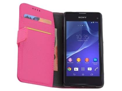 Sony Xperia Z1 Compact Slim Synthetic Leather Wallet Case with Stand - Pink