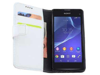 Synthetic Leather Wallet Case with Stand for Sony Xperia Z1 Compact - Pearl White