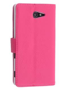 Sony Xperia M2 Slim Synthetic Leather Wallet Case with Stand - Pink