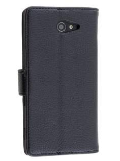 Sony Xperia M2 Slim Synthetic Leather Wallet Case with Stand - Classic Black Leather Wallet Case