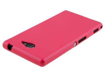 Sony Xperia M2 Frosted Colour TPU Gel Case - Coral Pink