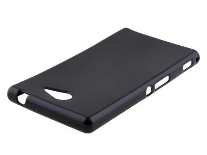 Frosted Colour TPU Gel Case for Sony Xperia M2 - Classic Black