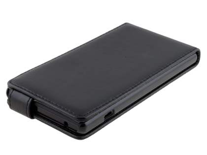Sony Xperia M2 Synthetic Leather Flip Case - Classic Black