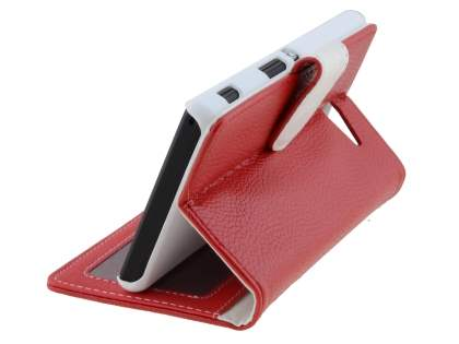 Sony Xperia M2 Slim Synthetic Leather Wallet Case with Stand - Red