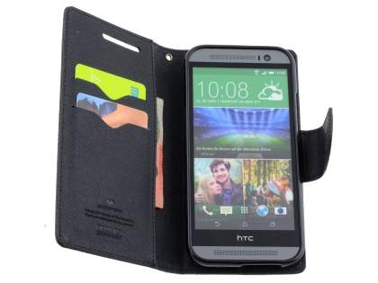 Mercury Goospery Colour Fancy Diary Case with Stand for HTC One M8 - Classic Black