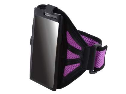 Sports Arm Band (Bumper Case Compatible) for HTC One M8 - Black/Mauve