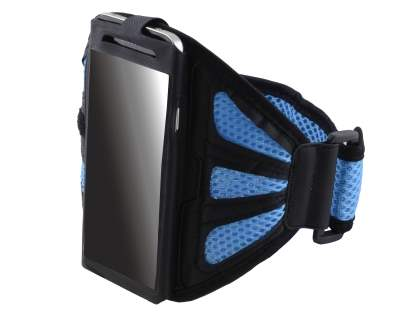 Sports Arm Band for Huawei Ascend G510 - Black/Sky Blue