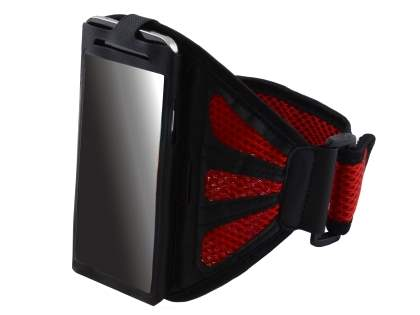 Sports Arm Band (Bumper Case Compatible) for LG L70 - Black/Red