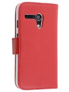 Synthetic Leather Wallet Case with Stand for Motorola Moto G - Red Leather Wallet Case