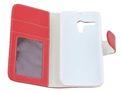 Synthetic Leather Wallet Case with Stand for Motorola Moto G - Red