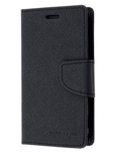Mercury Goospery Colour Fancy Diary Case with Stand for Sony Xperia Z1 Compact - Classic Black Leather Wallet Case