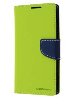 Mercury Colour Fancy Diary Case with Stand for Sony Xperia Z2 - Lime/Navy Leather Wallet Case