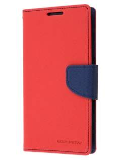 Mercury Colour Fancy Diary Case with Stand for Sony Xperia Z2 - Red/Navy Leather Wallet Case