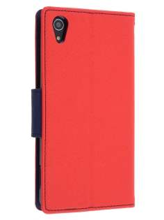 Mercury Goospery Colour Fancy Diary Case with Stand for Sony Xperia Z2 - Red/Navy