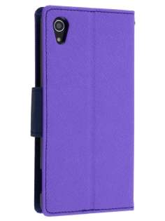 Mercury Colour Fancy Diary Case with Stand for Sony Xperia Z2 - Purple/Navy