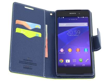 Mercury Colour Fancy Diary Case with Stand for Sony Xperia Z2 - Lime/Navy