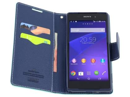 Mercury Colour Fancy Diary Case with Stand for Sony Xperia Z2 - Mint/Navy