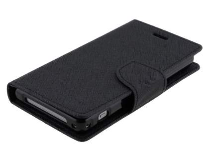 Mercury Colour Fancy Diary Case with Stand for Sony Xperia Z1 Compact - Classic Black