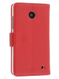 Nokia Lumia 635/636/630 Slim Synthetic Leather Wallet Case with Stand - Red Leather Wallet Case